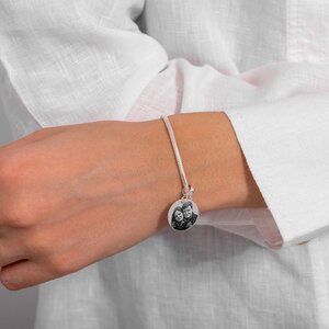 Bratara charms pandantiv banut 17 mm personalizat gravura cu poza Argint 925 Premium