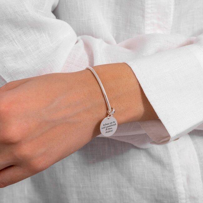 Bratara charms pandantiv banut 17 mm personalizat gravura text Argint 925 Premium