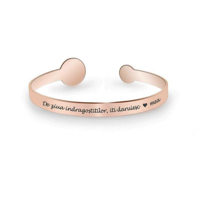 Bratara fixa lata de dama banuti 15 mm & 9 mm personalizata gravura foto Argint 925 placat aur roz 18K