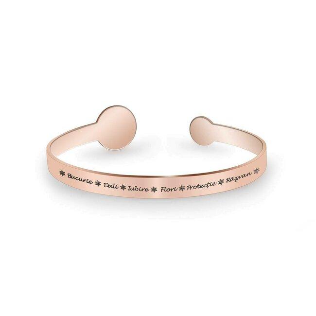 Bratara fixa lata de dama banuti 15 mm & 9 mm personalizata gravura text Argint 925 placat aur roz 18K