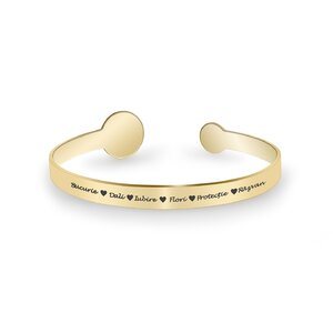 Bratara fixa lata de dama banuti 15 mm & 9 mm personalizata gravura text Argint 925 placat aur galben 24K