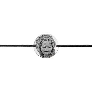 Bratara barbateasca snur gros banut 22 mm personalizat gravura foto Argint 925 Premium