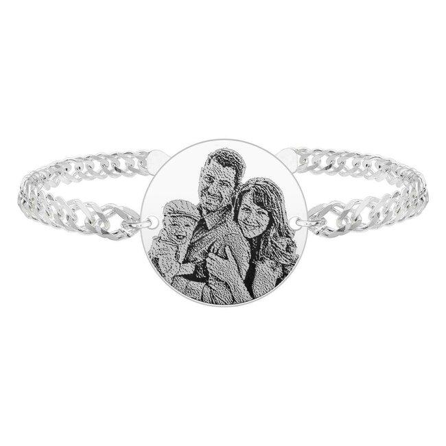Bratara barbateasca lant banut 22 mm personalizat gravura foto Argint 925 rodiat (lant Curbed XL)