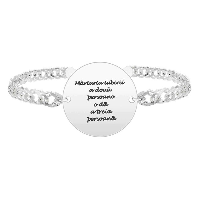 Bratara barbateasca lant banut 22 mm personalizat gravura text Argint 925 rodiat (lant Curbed XL)