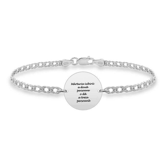Bratara lant banut 17 mm personalizat gravura text Argint 925 rodiat (lant Curbed)