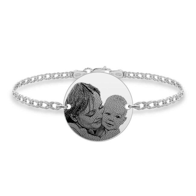 Bratara barbateasca lant banut 22 mm personalizat gravura foto Argint 925 rodiat (lant Curbed)