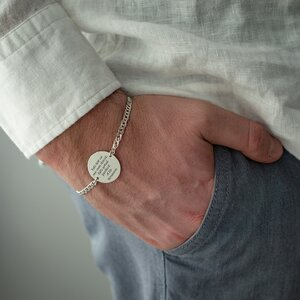 Bratara barbateasca lant banut 22 mm personalizat gravura text Argint 925 Premium (lant Curbed)