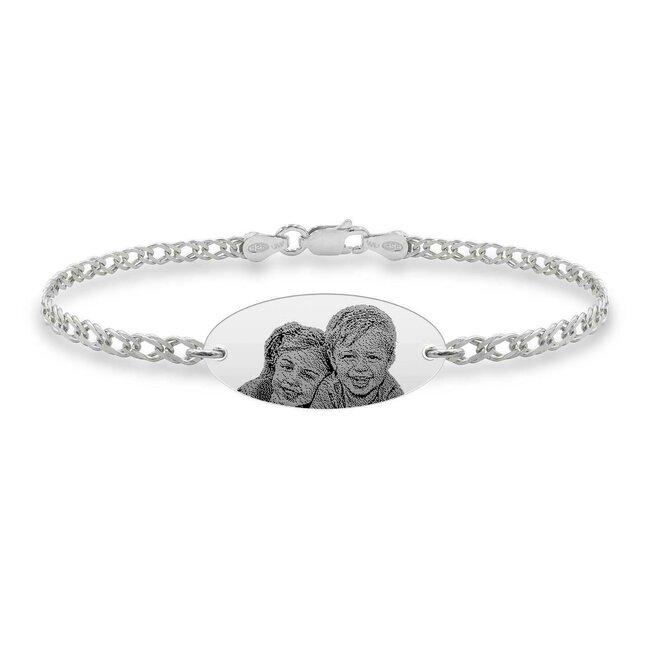 Bratara barbateasca lant oval 22 mm personalizat gravura foto Argint 925 rodiat (lant Curbed)