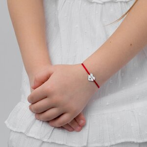 Bratara Aur alb 14K cu snur rosu inima (11 mm)