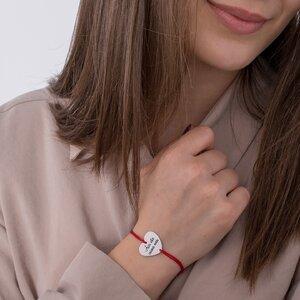 Bratara snur inima 20 mm personalizata gravura foto Argint 925 Premium