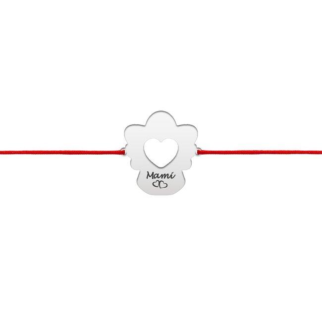Bratara snur inima ingeras 14 mm personalizat gravura text Argint 925 Premium