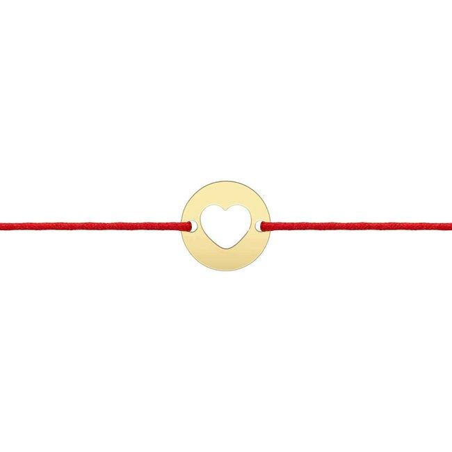 Bratara martisor snur banut inima 10 mm Aur galben 14K