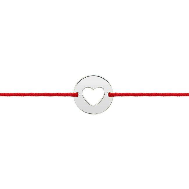 Bratara martisor snur banut inima 10 mm Aur alb 14K