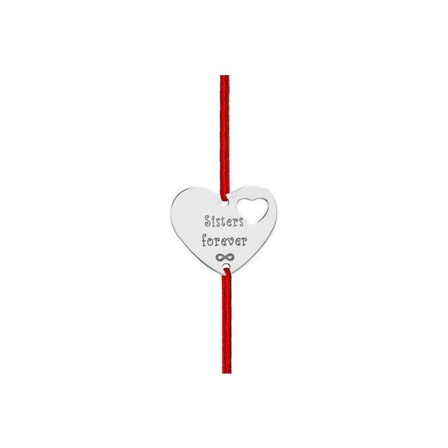 Bratara snur inima in inima 18 mm personalizata gravura text Argint 925 rodiat