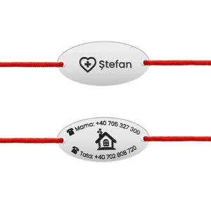 Bratara snur cu date siguranta copil oval 22 mm personalizat gravura text Argint 925 Premium (Keep me safe)