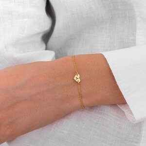 Bratara lant Aur 14K inima (7 mm)