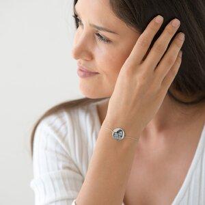 Bratara lant banut 17 mm personalizat gravura foto Argint 925 Premium