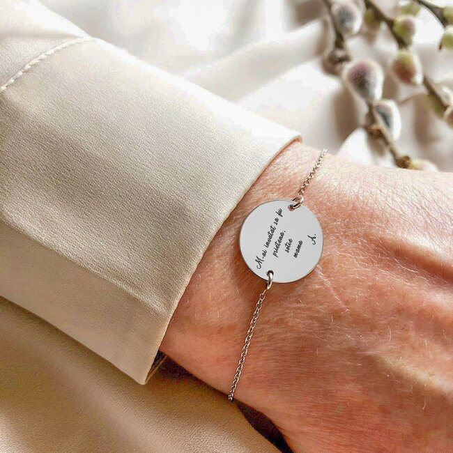 Bratara lant banut 17 mm personalizat gravura text Argint 925 Premium