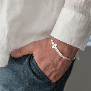 Bratara barbateasca lant cruce 35 mm personalizata gravura text Argint 925