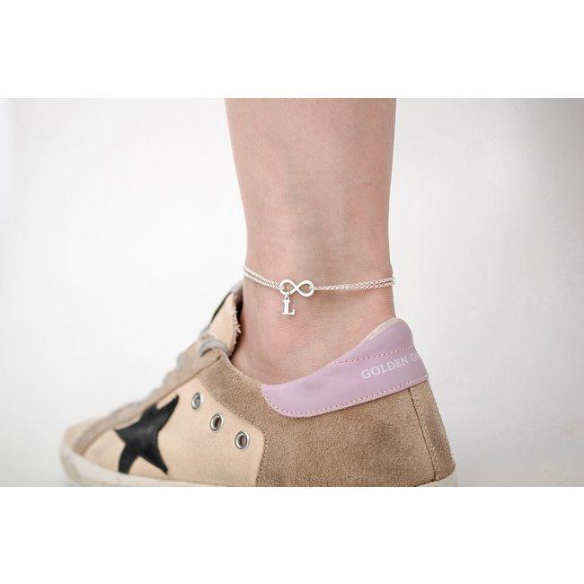 Bratara lant dublu pentru picior infinit 17 mm si litera 9 mm Argint 925