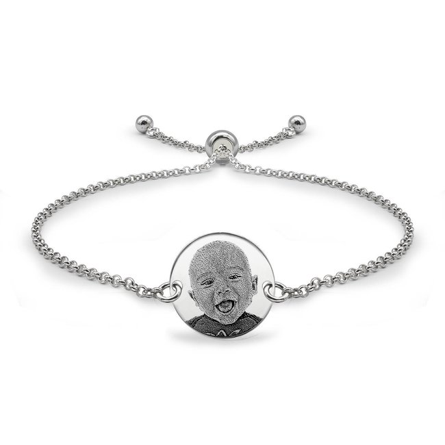 Bratara lant glisanta banut 14,5 mm personalizat gravura foto Argint 925 rodiat