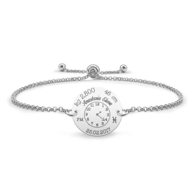 Bratara lant glisanta ceasul bebelusului banut 17 mm personalizat gravura foto Argint 925 Premium