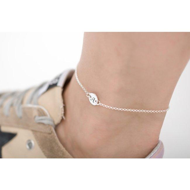 Bratara lant pentru picior banut 10 mm personalizat gravura text Argint 925 Premium