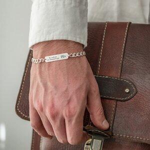 Bratara barbateasca lant placuta 33 mm personalizata gravura text Argint 925 Premium (lant Curbed XL)