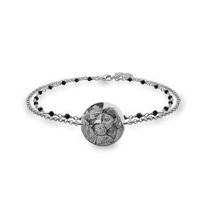 Bratara lant & rozariu banut 17 mm personalizat gravura foto Argint 925 Premium