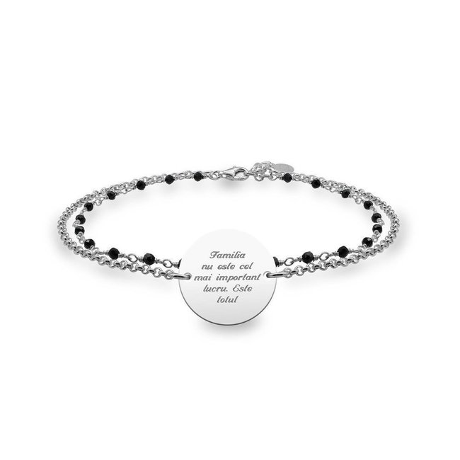 Bratara lant & rozariu banut 17 mm personalizat gravura text Argint 925 Premium