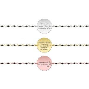 Bratara lant tip rozariu banut 17 mm personalizat gravura text Argint 925 Premium