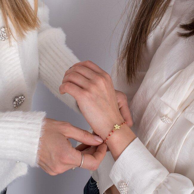 Bratara lant tip rozariu rosu stea 10 mm personalizata gravura initiala Argint 925 placat aur galben 24K