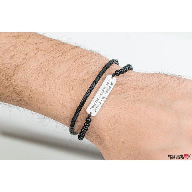 Bratara barbateasca piele & onix placuta 33 mm personalizata gravura text Argint 925 Premium