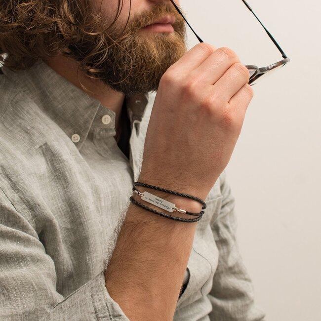 Bratara barbateasca mix piele placuta 33 mm personalizata gravura text Argint 925 Premium