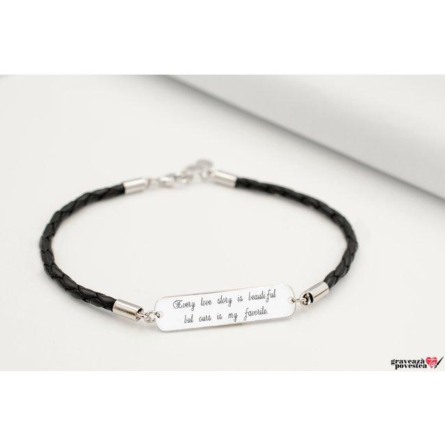 Bratara unisex piele placuta 33 mm personalizata gravura text Argint 925 rodiat (piele 3 mm)