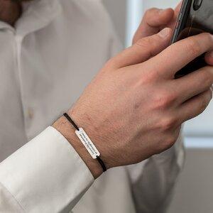 Bratara barbateasca snur gros placuta 33 mm personalizata gravura text Argint 925 Premium