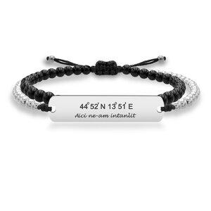 Bratara barbateasca snur onix si bilute placuta 33 mm personalizata gravura text Argint 925 Premium