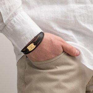 Bratara barbateasca mix piele, oval 28 mm personalizat gravura text Argint 925 Premium (inchizatoare inox)