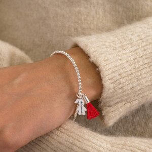 Bratara Argint dama, bilute si pandantiv fata/baiat, personalizata (15 mm)