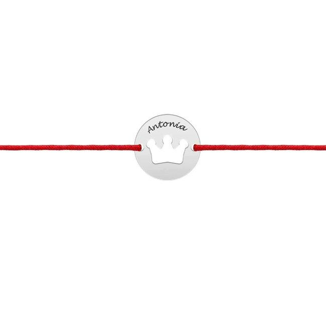Bratara martisor Aur alb 14K cu snur rosu banut coronita (10 mm)