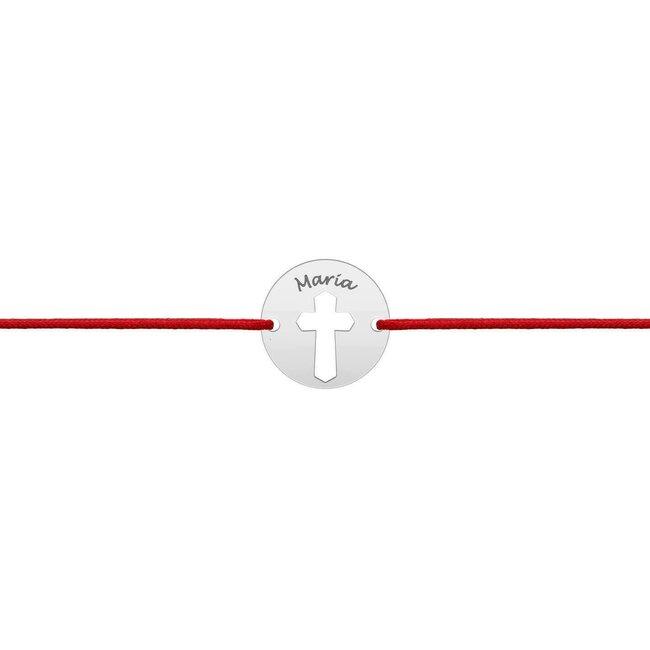 Bratara martisor Aur alb 14K cu snur rosu banut cruce (10 mm)