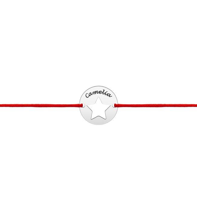 Bratara martisor Aur alb 14K cu snur rosu banut stea (10 mm)
