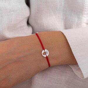 Bratara Aur alb14K cu snur rosu banut ingeras (11 mm)