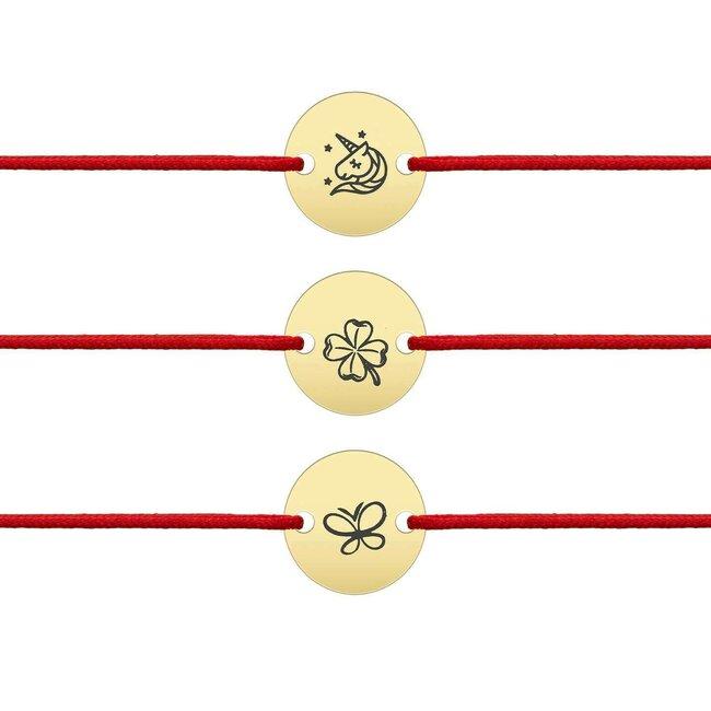 Bratara martisor cu snur rosu banut 10 mm argint placat cu aur galben 24K  (simboluri predefinite - minim 5 buc)