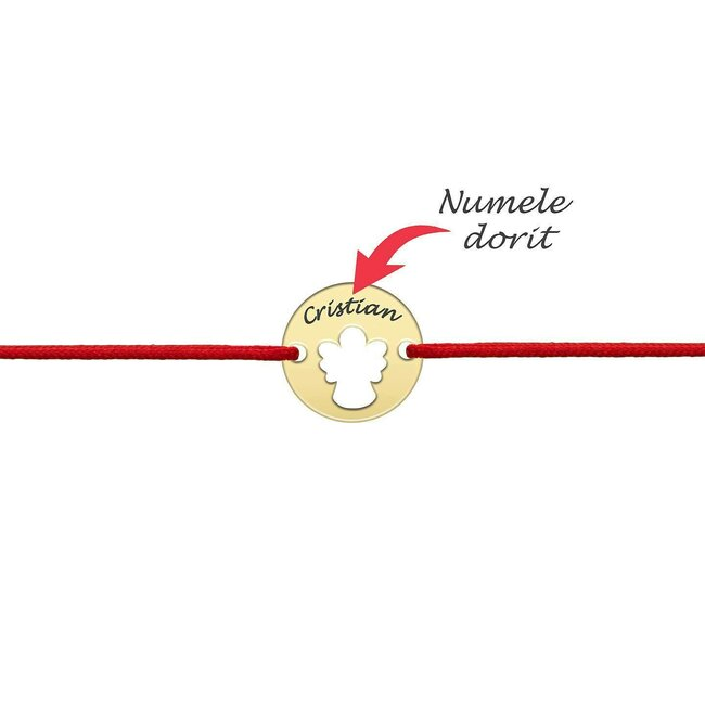 Bratara martisor cu snur rosu banut ingeras argint placat cu aur galben 24K (minim 3buc)