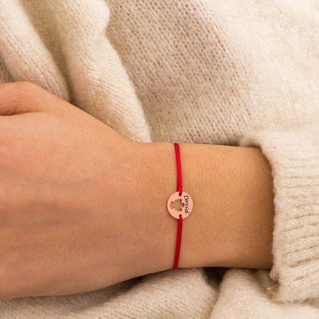 Bratara martisor cu snur rosu banut ingeras argint placat cu aur roz 18K (minim 3buc)