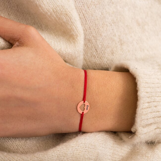 Bratara martisor cu snur rosu banut inima argint placat cu aur roz 18K (minim 3buc)