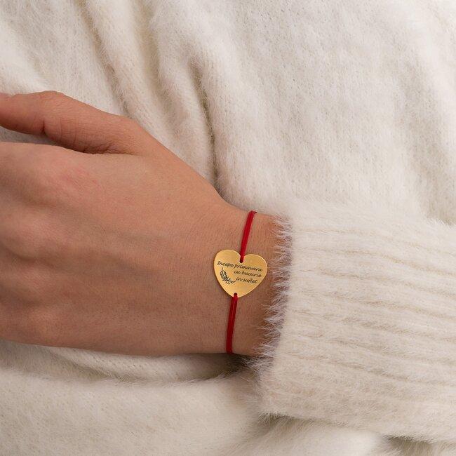 Bratara martisor cu snur rosu inima argint placat cu aur galben 24K (20 mm)