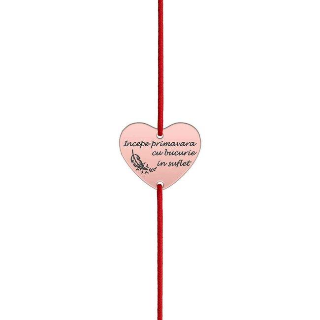 Bratara martisor cu snur rosu inima argint placat cu aur roz 18K (20 mm)