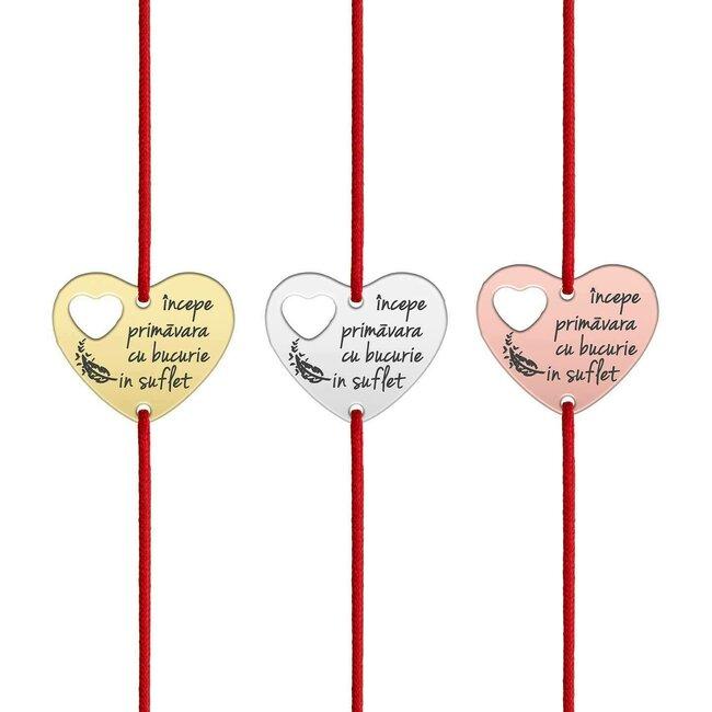 Bratara martisor cu snur rosu inima in inima argint (texte predefinite)